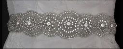 Beaded Wedding Dress Sash Belt with Rhinestones and Sequins