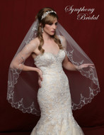 Elaborate Beaded Scallop Wedding Veil Symphony Bridal 6802VL