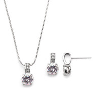 6 Sets Delicate Silver Plated CZ Bridesmaid Jewelry
