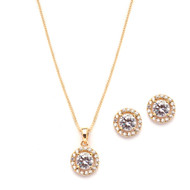 5 Sets Halo CZ 14K Gold Plated  Bridesmaid Jewelry