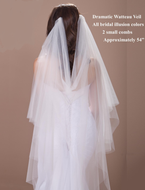Custom Made Dramatic Draped Watteau Waltz Length Wedding Veil