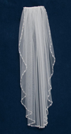 Pearl and Rhinestone Beaded Elbow Length Wedding Veil C455