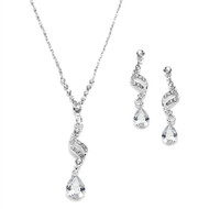 8 Sets Sparkling CZ Teardrop Bridesmaid Jewelry