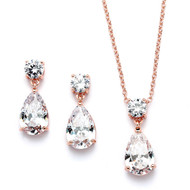Dainty Rose Gold Plated Crystal Bridal and Bridesmaid Jewelry Set