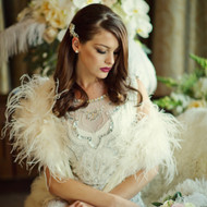 Vintage Inspired Ivory Ostrich Feather Bridal Shrug Wrap