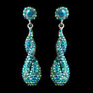 Turquoise AB Crystal Prom and Wedding Earrings