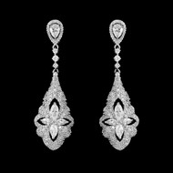 Sterling Silver Vintage Inspired CZ Wedding Earrings