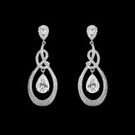 Sterling Silver Teardrop CZ Wedding Earrings
