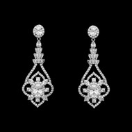 Elegant Silver Cubic Zirconia Wedding Earrings Pierced or Clip On