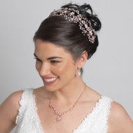 Rose Gold Crystal Hand Wired Floral Wedding Headband