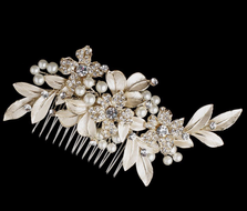 Gold Plated Ivory Pearl Flower and Leaf Bridal Comb