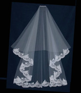 Waltz Length Encasement Drop Wedding Veil with Alencon Lace
