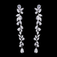 "Over 3"" Long Cascading CZ Bridal Earrings - Silver, Gold, Rose Gold"