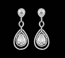 Teardrop CZ Wedding and Formal Earrings - Silver, Gold, Rose Gold