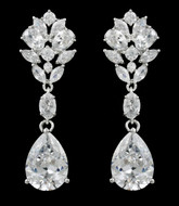 Multi Cut CZ Pear Drop Wedding Earrings in Pierced or Clip On