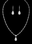 CZ Teardrop Wedding Jewelry Set - Silver, Gold or Rose Gold