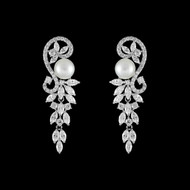 Stunning Pearl and CZ Drop Wedding Earrings in Silver, Gold, Rose Gold