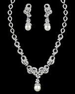 Exquisite Floral Pearl and CZ Crystal Bridal Jewelry Set