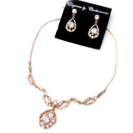 Rose Gold Plated Rhinestone Wedding Jewelry Set