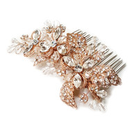 Couture Rose Gold Plated Floral Bridal Hair Comb