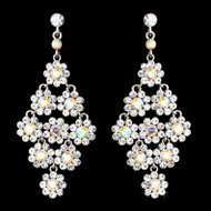 Floral Silver AB  Crystal Chandelier Bridal Earrings