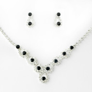 5 Sets Black and Clear Rhinestone Bridesmaid Jewelry