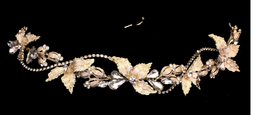 Gold Plated Rhinestone Leaf Bridal Headband with Elastic Back