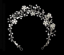 Silver or Rose Gold Floral Vine Bridal Crystal Headband