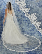 Beaded Alencon Lace Cathedral Wedding Veil Symphony Bridal 6946VL