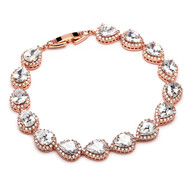 Petite Rose Gold Plated CZ Framed Pears  Wedding Bracelet