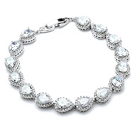 Petite  Silver Plated AAAAA CZ Framed Pears  Wedding Bracelet