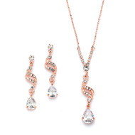 3 Sets Sparkling Rose Gold CZ Teardrop Bridesmaid Jewelry