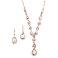 3 Sets Rose Gold Plated Rhinestone Bridesmaid Jewelry