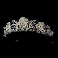 Antique Silver Rhinestone Flower Wedding Tiara