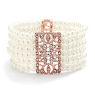 Pearl and Rose Gold Bridal Stretch Bracelet with Rhinestones