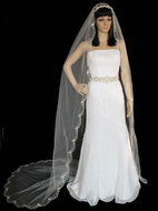 Beaded Embroidery Cathedral Length Wedding Veil V3110C