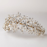 Light Gold Crystal Spray Wedding Headband Tiara