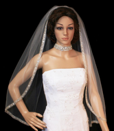Beaded Silver Embroidery Fingertip Length Wedding Veil