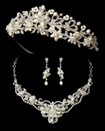 Elegant Freshwater Pearl and Rhinestone Bridal Tiara and Jewelry Set