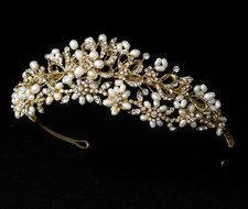 Elegant Gold Plated Freshwater Pearl and Rhinestone Bridal Tiara