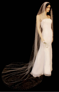 Extra Wide Rhinestone Covered Stardust Cathedral Length Wedding Veil