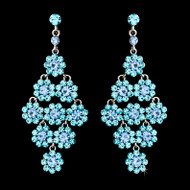Aqua and Light Blue Crystal Chandelier Earrings