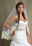 Lace Fingertip or Royal Cathedral Wedding Veil E1192 Elena Designs