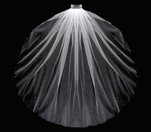 "36"" Cut Edge Fingertip Length Blusher Wedding Veil"