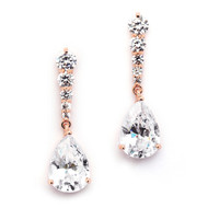 Rose Gold CZ Pears Dangle Bridal Earrings