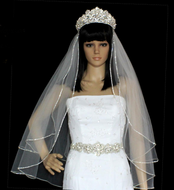 Two Layer Extra Full Rhinestone Edge Fingertip Length Wedding Veil