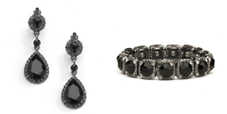 Jet Black Crystal Pierced or Clip on Earrings and Stretch Bracelet Set