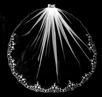 Crystal Beaded Floral Design Fingertip Length Wedding Veil