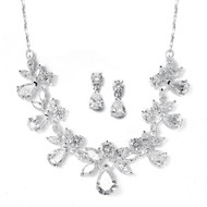 Silver Plated CZ Bridal Jewelry Set 578S