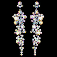 Dazzling Silver AB Rhinestone Drop Wedding and Prom Earrings